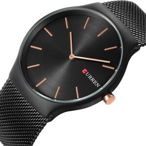 Curren-Analog-Quartz-Mens-Wrist-watch-Mesh-Steel-Oversized-Hot-sales-Luxury-New