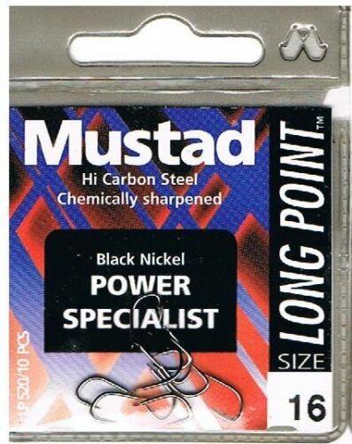 MUSTAD  BLACK NICKEL POWER SPECIALIST LONG POINT BARBED SPADE END HOOKS LP520