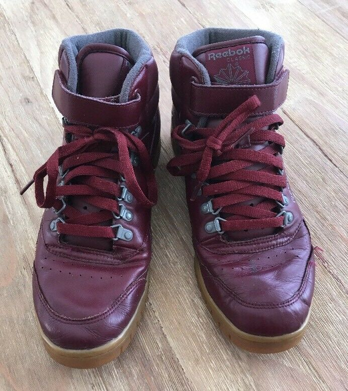 Vintage Men's High Top Maroon Reebok Classics Basketball Schuhes Maroon Top Größe 9 865d86