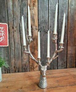 XL Edler Hirschkopf Kerzenleuchter 48 x 35cm Hirsch Kerzenhalter Silbern Metall