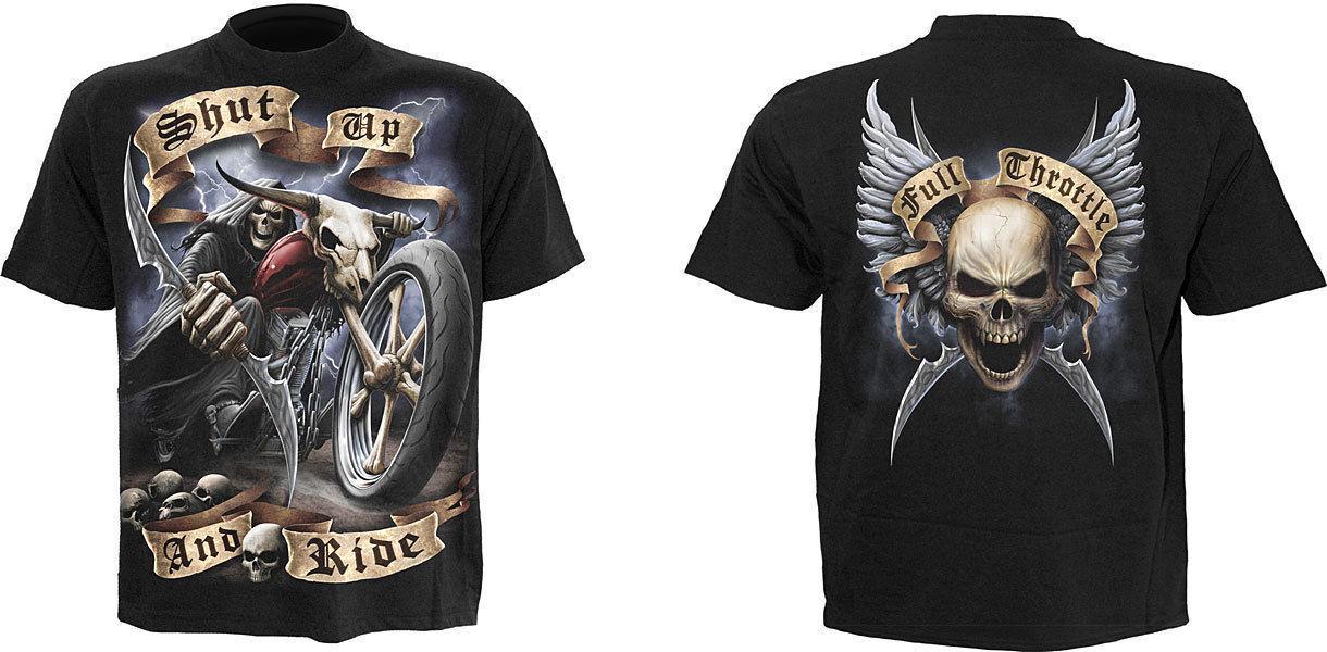 SPIRAL DIRECT WHEELS OF FIRE T-Shirt,Tee Top  Biker Grim Reaper Skull Skeleton