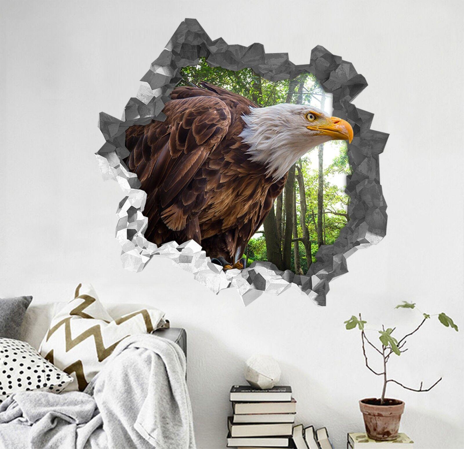 3D Foresta Grande Aquila 320 Parete Murales Parete Adesivi Decal Sfondamento IT