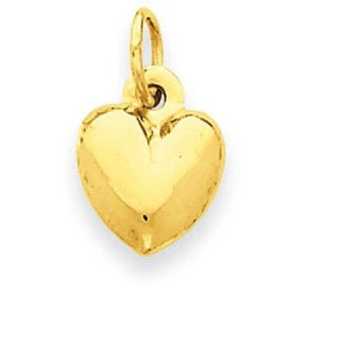 3-D Mini Red Heart Enamel 14k Yellow Gold Heart Charm Necklace Pendant with 18 Inch Chain