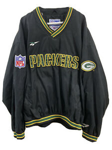 Vintage-Reebok-Green-Bay-Packers-Black-Pullover-Mens-XL-Retro-90s-NFL-Pro-Line