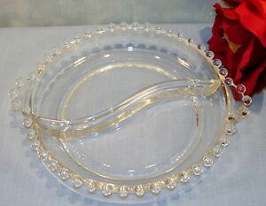 Imperial-Candlewick-Crystal-Elegant-Glassware-Divided-Relish-Dish-6-1-2-in