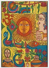 Sonnengesicht bunt - Tagesdecke - Wandbehang - Dekotuch 210 x 240 cm