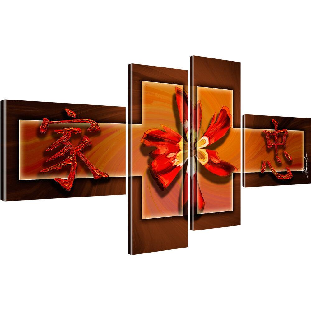 Blaume Mohn Abstrakt Bilder auf Leinwand DigitalKunst Vierteilig