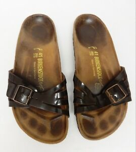 BIRKENSTOCK-265-Slides-Sandals-Brown-Patent-Leather-41-L10-M-8-Germany