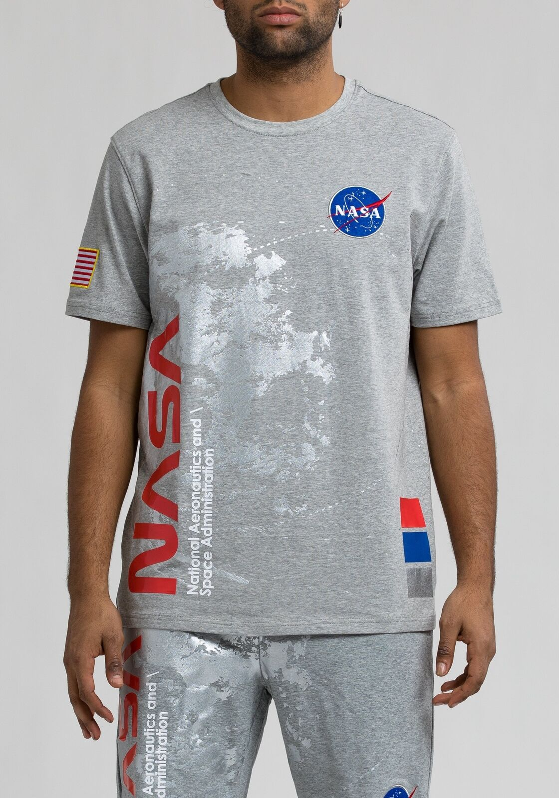 Hudson Nasa Short Sleeve Men's Shirts Grey bluee-Red h1052172-gry