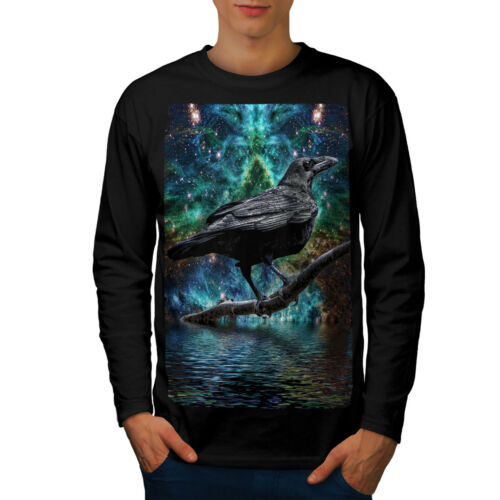 Surreale Galaxy Raven Uomo Manica Lunga T-shirt Nuovewellcoda