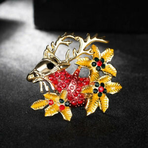 Fashion-Rhinestone-Crystal-Christmas-Deer-Brooch-Pin-Corsage-Women-Jewelry-JA