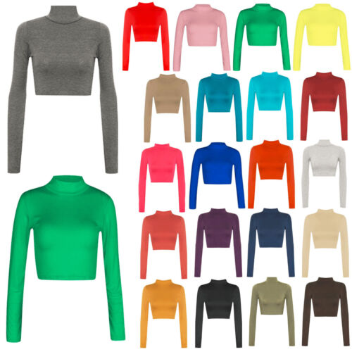 New Womens Ladies Turtle Neck Crop Long Sleeve Plain Polo Short Stretch Top 8-14