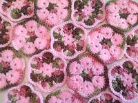 20 4 Pink Camo African Flower Granny Squares Crochet Afghans Blocks Hexagon