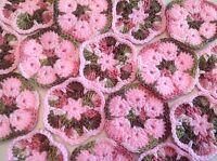 20 4 Pink Camo African Flower Granny Squares Crochet Afghans Blocks Hexagon