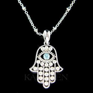 Hamsa Hand Evil eye~ made with Swarovski Crystal Jewish Hamesh ... ff2713d0d33d