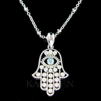 ~Hamsa Hand Evil eye~ made with Swarovski Crystal Jewish Hamesh Fatima  Necklace | eBay