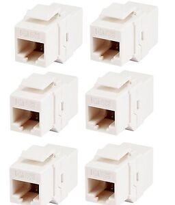 6x RJ45 Cat5e Cat 5e Keystone Network Cable Joiner Coupler Connector Extender