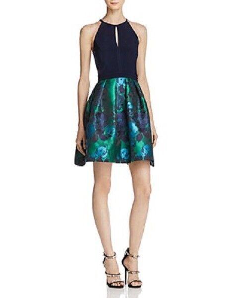 300 AQUA Womens blueE GREEN Brocade-Skirt FLORAL SHORT FIT&FLARE DRESS SIZE 2