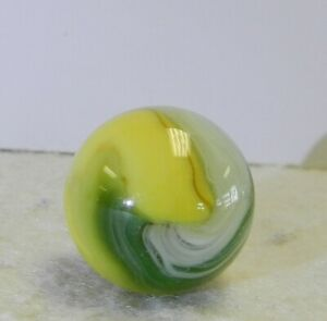 11827m-Large-74-Inches-Vintage-Akro-agate-Green-and-Yellow-Popeye-Marble-Mint