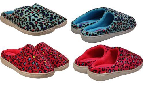 Para Mujeres Estampado de Leopardo cálido confort mulas Slip On Damas Acogedor Zapatillas plana uk3-8