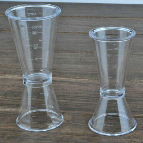 S L Jigger Single Double Shot Cocktail Wine Clear Drink Bar Party Measure Cup