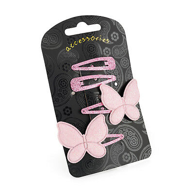 Ladies Girls Kids 4 Pack 4cm PInk Glitter Butterfly Hair Clips Grips Brand New