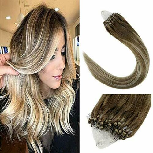 Silky Straight Micro Loops Rings Real Human Hair Extensions Ombre Balayage 50g