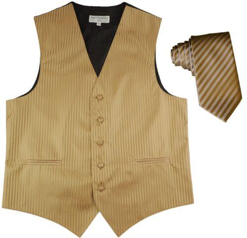 Men/'s Vertical stripes Tuxedo Vest Waistcoat /& 2.5 Skinny Slim Tie Mocca Brown