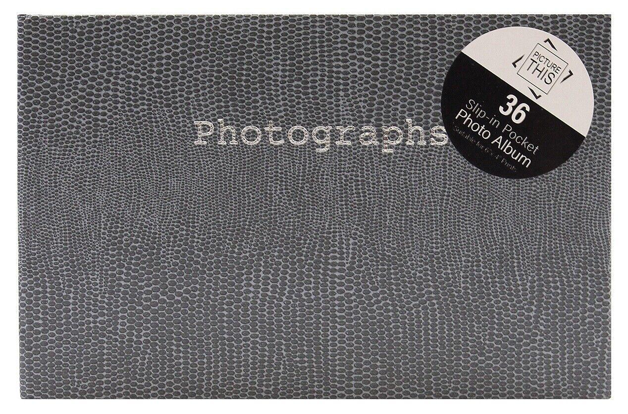 Grey - 6x4 Inch Mini Photo Album Slip in Holds 36 Photos Snake Print