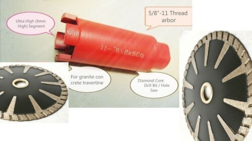 "1 Inch Diamond Core Bit Granite 5/"" Turbo Convex concave Blade Concrete Marble"