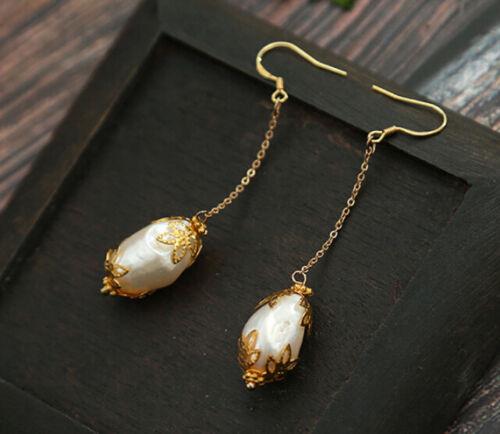 B12 arete barroco perla blanca perlas de hojas chapados en oro gehalten