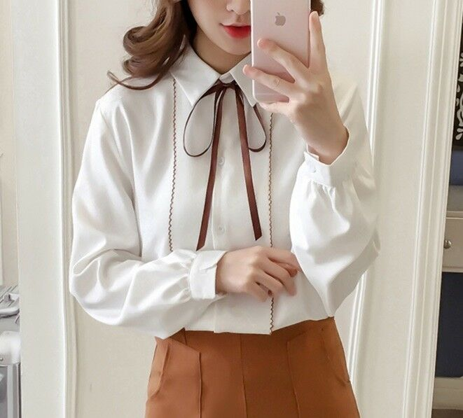 New Women Girl Fashion Korean Fall Long Sleeve Top Plain Elegant Ribbon