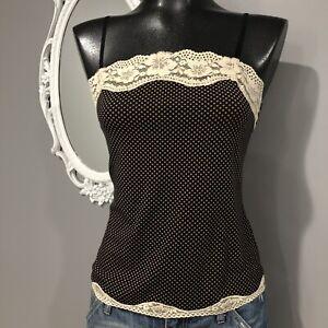 Small-LOFT-Black-And-Beige-Pindot-Print-Cami-Top