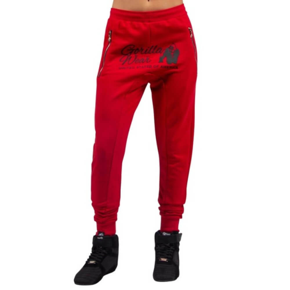 Gorilla Wear Celina Drop Credch Joggers – Red Bodybuilding Fitness