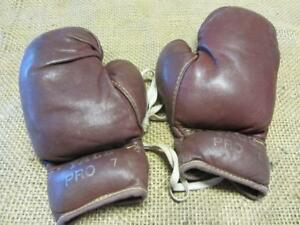 Vintage-Yale-Leather-Boxing-Gloves-10-oz-gt-Antique-Sports-Box-Childs-9901