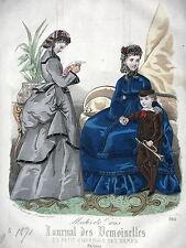 GRAVURE ANCIENNE MODE 19e - JOURNAL DES DEMOISELLES -  MODES MELLE TAROT - 1871