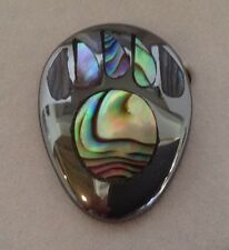 Hematite & Abalone Inlay BEAR PAW PIN BROOCH Jewelry New in Gift Box