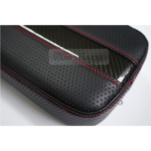 Sports Glossy Carbon Line Armrest Console Cushion Red Stitch for CHEVROLET