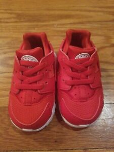 Nike Huarache Baby Size 4C Red with elastic laces | eBay