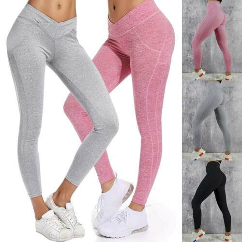 UK Womens Compression Fitness Leggings With Pockets Yoga Pants Gym Workout M78