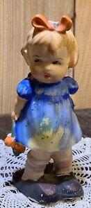 Vintage Hummel style girl Paint Splattered Figurine Porcelain