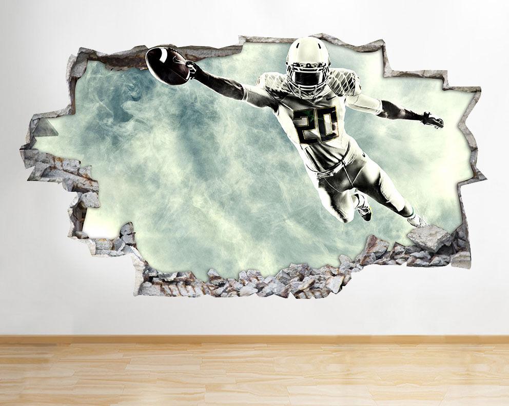 C004 Football américain Sport cool Smashed Autocollant Chambre 3D Vinyle enfants