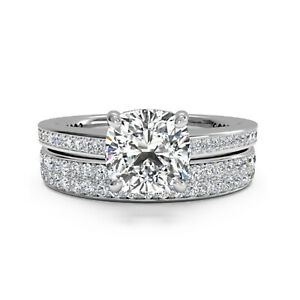 1.40 Ct Cushion Real Moissanite Engagement Band Set Solid 18K White Gold Size 8