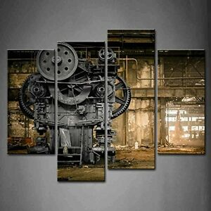Delicieux Image Is Loading New 4 Panel Wall Art Steampunk Old Factory
