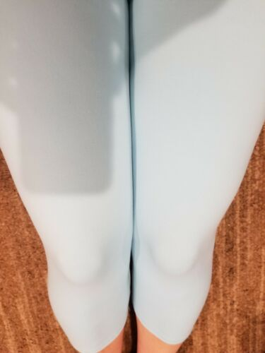 One Size OS Buttery Soft Solid Sky Blue Capri Leggings Sizes 0-12