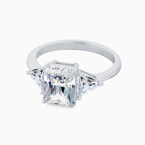 Samie Collection White Gold Plated Emerald CZ 3 Stone Wedding Engagement Ring