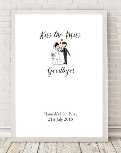 Kiss the Miss Goodbye Hen Party A4 Poster Print PO96