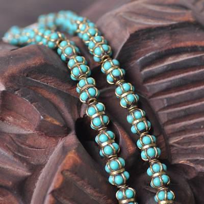 2pcs 8.5x11.5mm Handmade Nepalese Tibetan Turquoise Brass Loose Craft Beads 6#