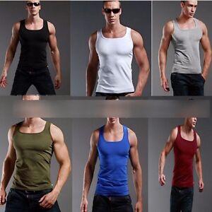 BANDTILENEW Men's Plain T-Shirts Tank Top Muscle Camo Sleeveless Tee A-Shirt Cotton TOPS