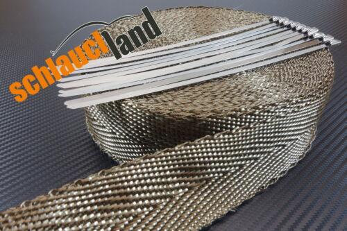 10 Kabelbinder *** Heat Wrap cable tie Basalt Hitzeschutzband 50mm 1400°C